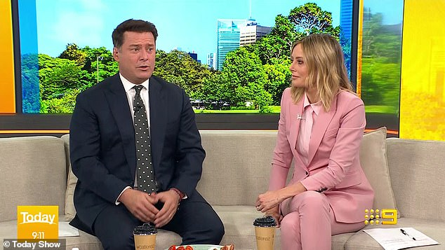 Serious: In August, Today host Karl Stefanovic (left, with Allison Langdon) revealed his wife had travelled to Brisbane with their daughter to be with her sick grandma