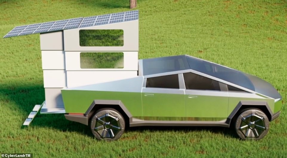 The CyberLandr turns the Cybertruck into a camper complete with shower, cooker, toilet and seats that transform into a double bed