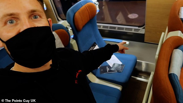 Nicky Kelvin shows viewers his £73 reclining seat after boarding in Aberdeen