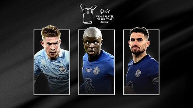 Jorginho beat N'Golo Kante (centre) and Kevin De Bruyne to UEFA's top individual prize