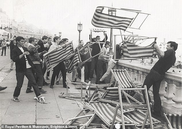 Mods causing mayhem by brandishing deck chairs as weapons back in 1967