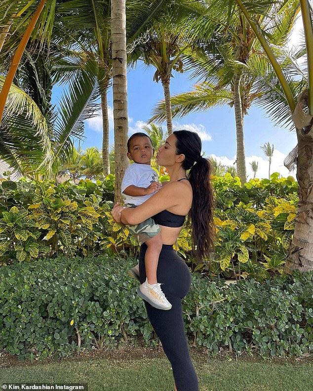 The Wests: They share four children together, eight-year-old daughter North, son Saint, five, daughter Chicago, three, and son Psalm, two (pictured)