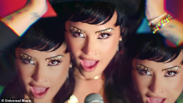 Singing from the heart:Demi Lovato premiered a bold and wacky music video for their new song Melon Cake on Friday, with the title referencing a shocking part of the singer's history