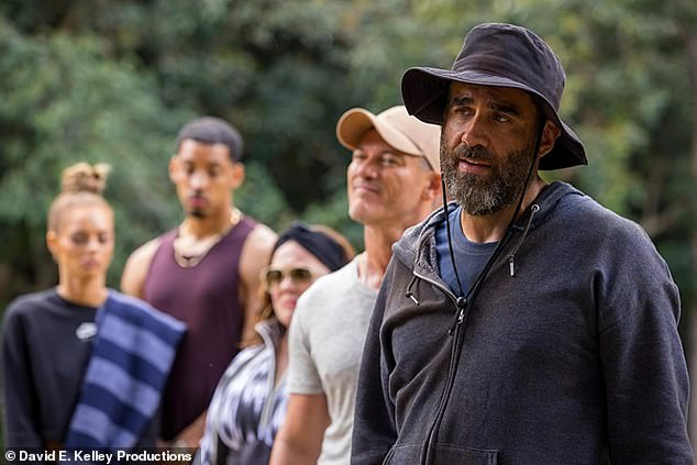 Fun on set: 'They're even bigger kids than [the younger cast members] on set in terms of their energy,' he shared of the seasoned actors. Pictured right Bobby Cannavale with the cast