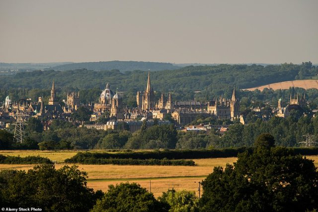Town and country: A stunning view of Oxford. During Lizzie's walk its streets are 'hushed with exam silence'