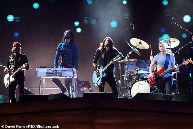 Taking a stance: The Foo Fighters have previously given performances in response to protests from the infamous Westboro Baptist Church; the group is seen at the38th Brit Awards in 2018