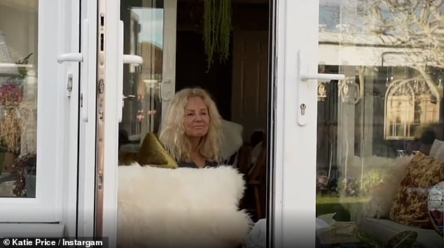 Pandemic: Due to her vulnerability Harvey and Katie always sit outside when they visit her and chat as she perches in the conservatory