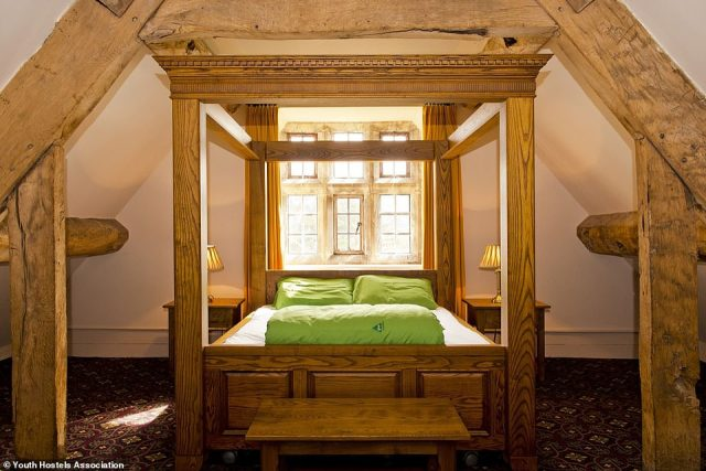 Shropshire's Wilderhope Manor features multi-bedded rooms with beamed ceilings and mullioned windows