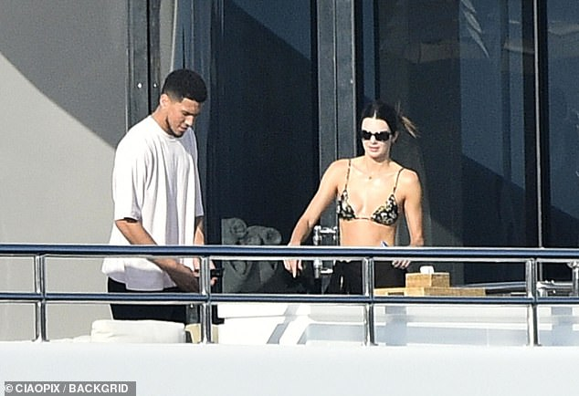 Not bothered:Kendall, meanwhile, has been enjoying a luxury European vacation with her Olympian boyfriend Devin Booker with the pair spotted in Sardinia and Ponza