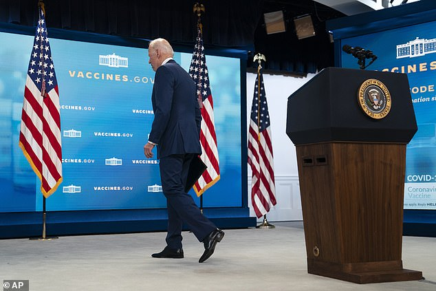 After delivering his good news on vaccinations, Biden headed straight for the exit ignoring questions about Afghanistan
