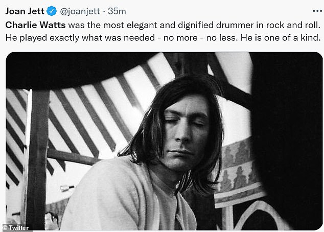 Joan Jett tweeted: 'Charlie Watts was the most elegant and dignified drummer in rock and roll. He played exactly what was needed - no more - no less. He is one of a kind'