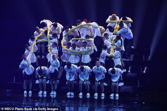 Spelled out:They formed a heart and an AGT sign from above and the audience gave them a standing ovation