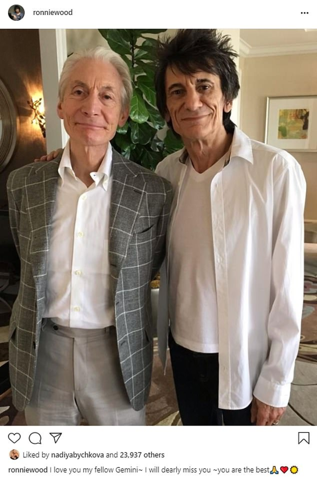'I will dearly miss you': Mick, Ronnie and Keith shared poignant tributes to Charlie after the Rolling Stones rocker passed away