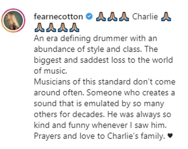 Heartbroken:Fearne Cotton, who is married to Ronnie's son Jesse, took to Instagram to express her upset at the 'biggest and saddest loss'