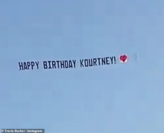 'Kind of weird':The former Playmate also mentioned Kourtney's birthday in April when Travis had a plane drag a banner overhead reading: 'HAPPY BIRTHDAY KOURTNEY'