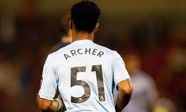 Archer made his first-team debut aged 17 almost exactly two years ago but it may have gone under the radar. He came on as a late sub in a 6-1 EFL Cup win at Crewe (above)