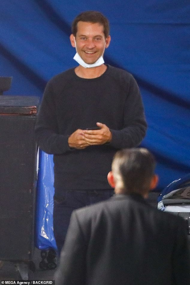 Opposite day:Tobey Maguire was also seen on set as he was the yin to Brad's yang