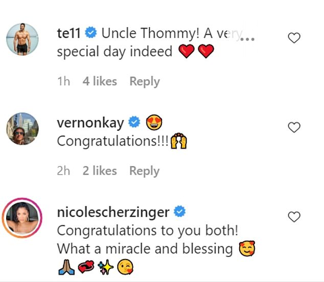 Cute: Max's brother Thom Evans and his girlfriend Nicole Scherzinger sent their well wishes alongside Vernon Kay
