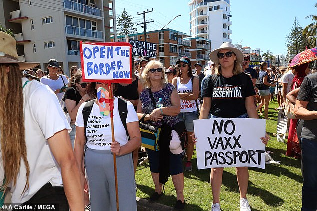 Border residents protest the current restrictions on NSW residents entering Queensland at Coolangatta last weekend