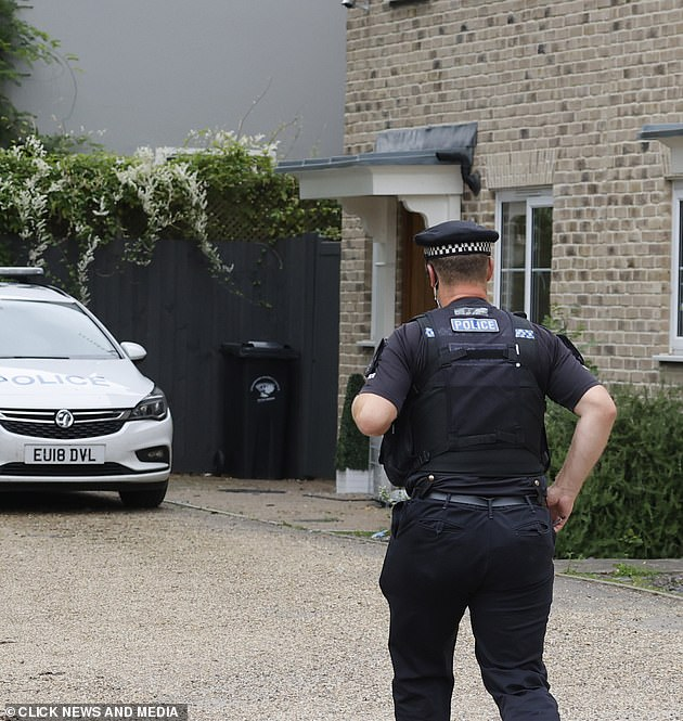 On the scene: Police were called to the TV personality's home on Monday, where a man was arrested on suspicion of assault, theft and coercive and controlling behaviour