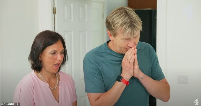 Contestants Teresa and Andrew (pictured) were so horrified with the garish colours chosen by their designer Andrew suggested 'throwing it down the drain'