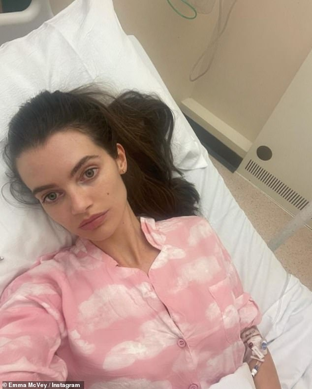 Poorly:Gary Beadle's wife Emma McVey has shared a snap from her hospital bed and revealed she's been forced to remain another night after 'losing a lot of blood'