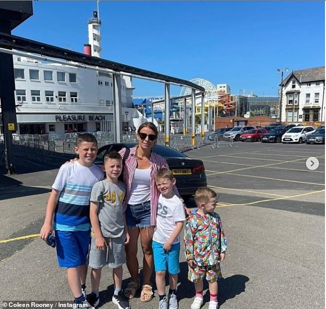 Close family:As well as Kai, the Liverpudlian beauty shares Klay, eight, Kit, five, and youngest child Cass, three, with her childhood sweetheart Wayne