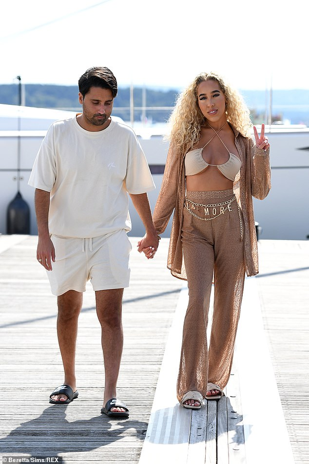 Cute: Liam Gatsby and Dani Imbert put on a loved-up display as they arrived for work holding hands