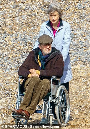 Future blockbuster:Rupert was snapped sitting in a wheelchair