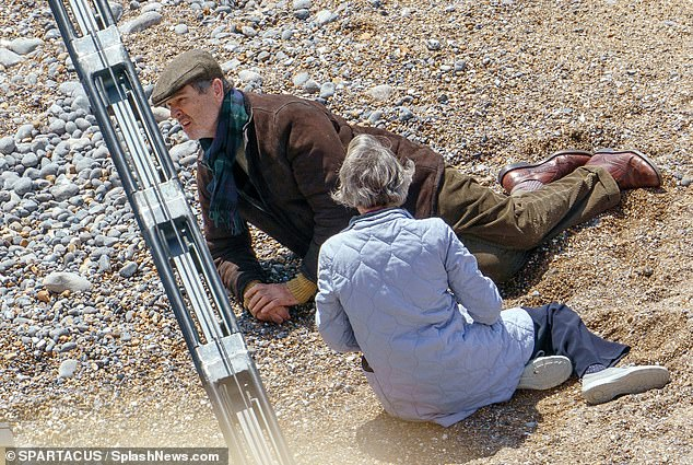 Rupert Everett and Gina McKee film the final scenes of My Policeman in East Sussex