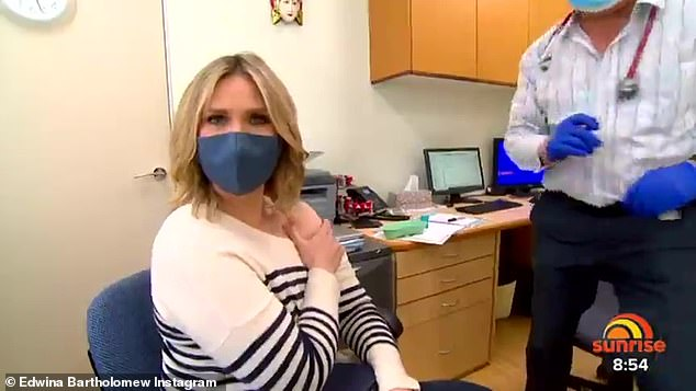 Doctor's office: On Wednesday, the TV presenter got her jab on live TV and urged other pregnant women to get the jab after discovering expecting women were more at risk of COVID complications