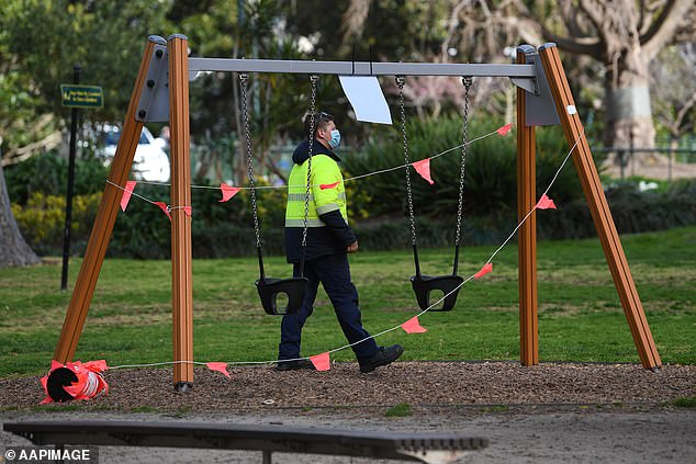 Playgrounds, basketball courts, skate parks and exercise equipment in metropolitan Melbourne were closed from August 16 after CHO Brett Sutton said the measure was needed to reduce transmission of the Delta variant (pictured, a council worker closes off a swing set near the CBD)