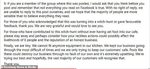 In response to the 'witch hunt' the lighthouse cafe shared a post detailing the lengths they go to accommodate gluten free customers while explaining their food is not suitable for coeliacs