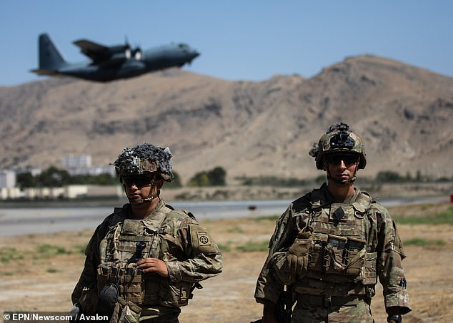 The UK evacuation effort in Kabul is now entering its final hours.US soldiers from the XVIII Airborne Corps are pictured in position guarding the airport today