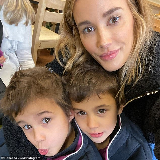 Smart! Bec Judd has (pictured) discovered a genius way to keep her kids preoccupied during the Melbourne lockdown - and it only her cost five dollars. Pictured with her sons