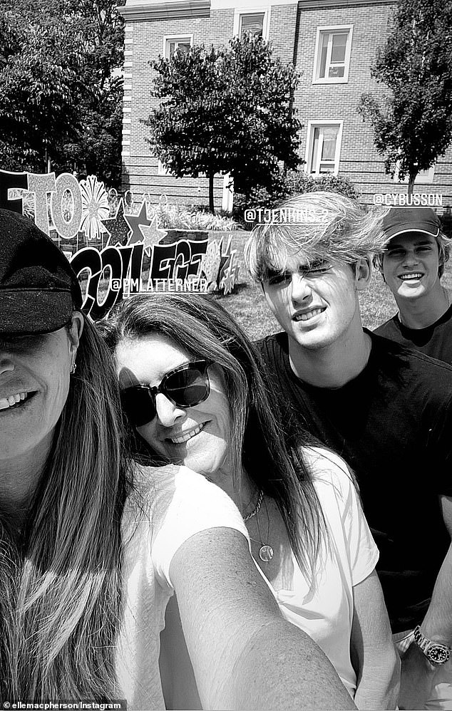 Big moment: Elle took one selfie with Cy and two friends, but mostly took pictures of his new dorm