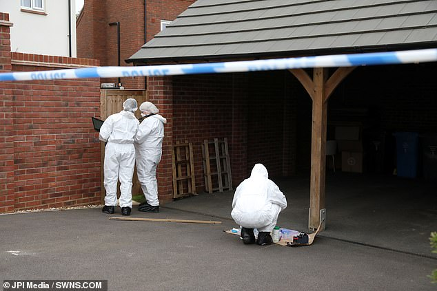 Officers from the Force's Major Crime Team have launched an investigation and are appealing for anyone with information to get in touch. Pictured: Forensic examinations at the scene