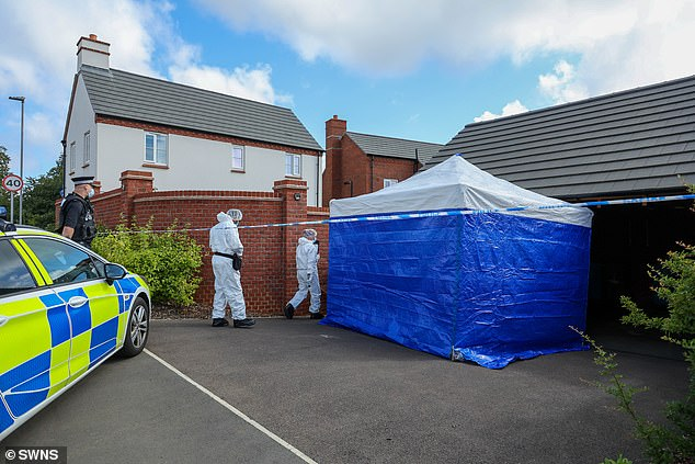 Both victims were confirmed dead at the scene despite the efforts of paramedics. Pictured: Forensic officers carrying out examinations of the scene at Slate Drive on Saturday morning