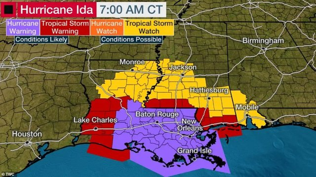 City officials said residents need to be prepared for prolonged power outages, and asked elderly residents to consider evacuating. Collin Arnold, the city's emergency management director, said the city could be under high winds for about ten hours