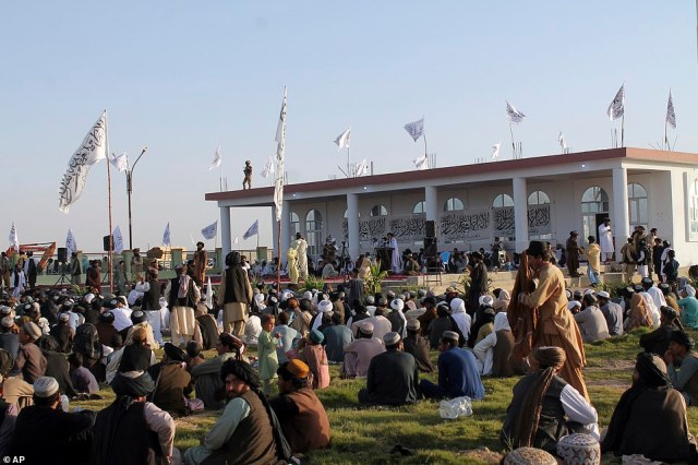 Taliban leaders hold a celebratory summit in Lashkar Gah, Helmand province, on Saturday to mark their victory