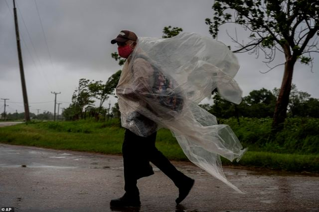 A man using plastic against heavy rainfall caused by Hurricane Ida in Cuba on Friday walks on a road leading to Batabano in the Mayabeque province. After battering Cuba on Friday with 80 mile per hour winds, Ida began churning northwest this morning - it is expected to reach the US this Sunday, 16 years to the date of Hurricane Katrina's landfall in 2005
