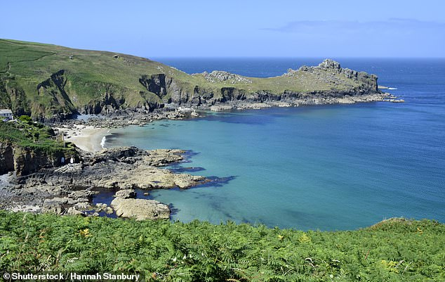 Vicki marvelled 'at the roiling sea below' while standing at Gurnard's Head peninsula, pictured
