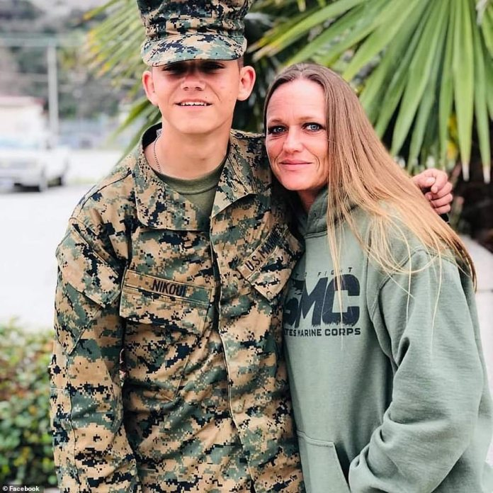 Marine Kareem Nikoui, pictured with his mother, was killed. His father said he blames Biden for abandoning them in Kabul