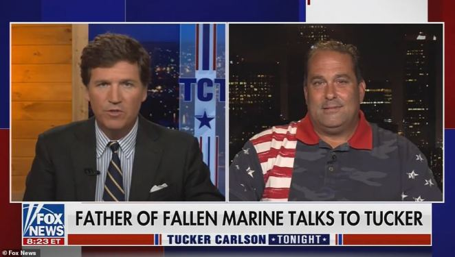 Steve Nikoui, right, father the late Kareem Nikoui, spoke with Fox's Tucker Carlson on Friday to condemn the Biden administration's efforts in Afghanistan that he said led to his son's death