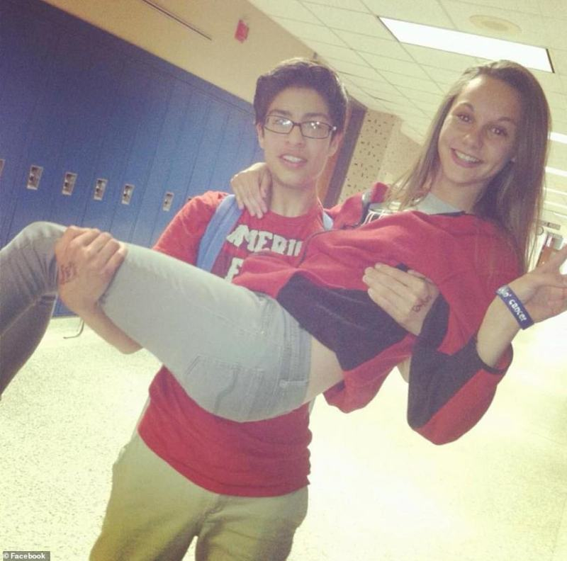 Sanchez pictured carrying friend Rhiannon Rickerd while attending Logansport High School in Indiana