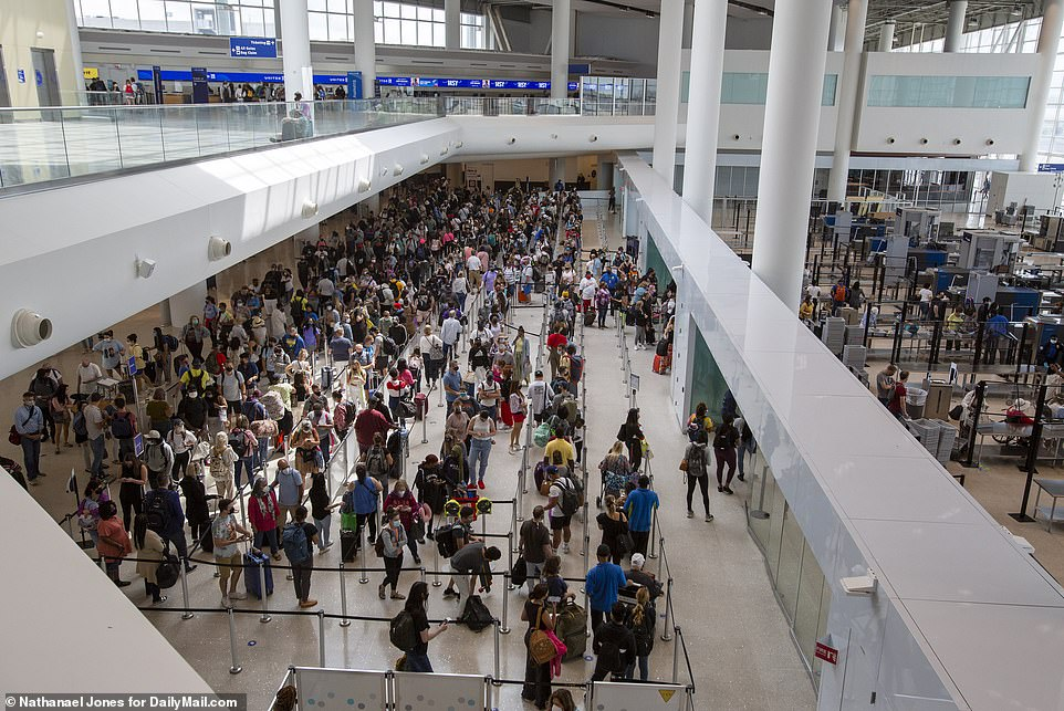 Like traffic jams on highways surrounding the city, TSA security lines at New Orleans' Louis Armstrong International Airport today are massive