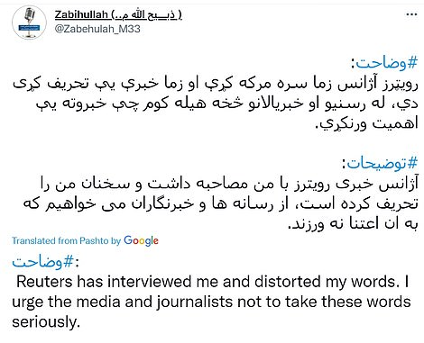 Talibanspokesman Zabihullah Mujahid said that Reuters had 'distorted' his words after he slammed the US drone strike