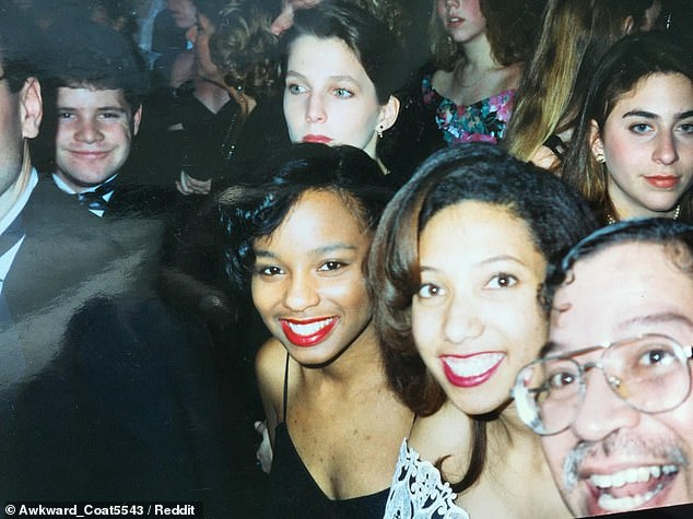 How it all began: The prank began when Astin, then 22, photobombed the same unsuspecting woman at an inaugural ball in Washington, D.C. for President Bill Clinton in 1993