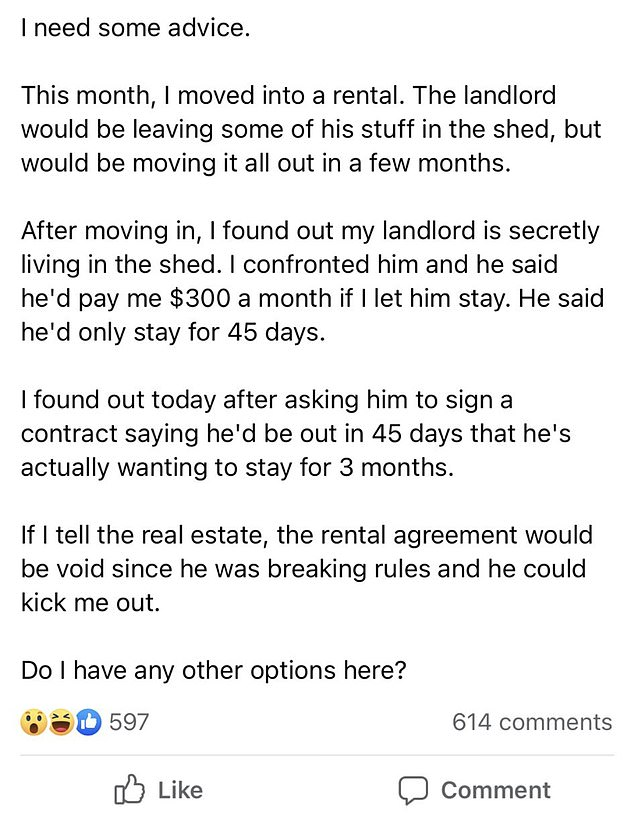 A renter took to Fairy Floss, a Facebook real estate group for metropolitan Melbourne, asking its 267,500 members for advice after discovering her landlord was living in her garden shed
