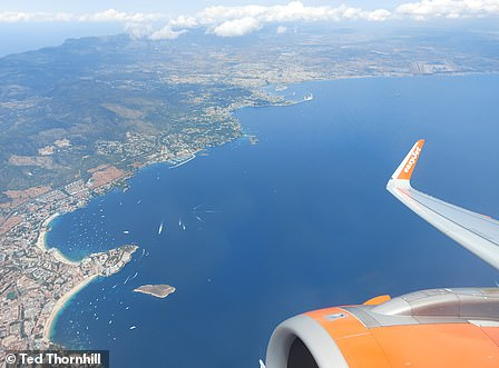 The view of Mallorca after take-off from Palma (top of the photo)